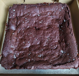 Whole tray of vegan salted caramel brownie, uncut