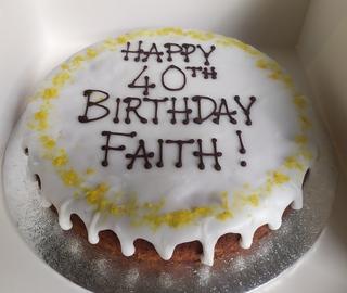 Vegan lemon and poppy seed cake single layer with writing
