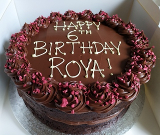 2-layer 10inch chocolate and raspberry cake, birthday message piped on top