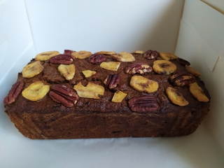 Whole loaf of date, banana and pecan cake