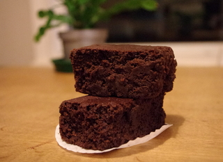 Stack of beetroot brownies