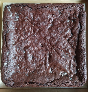 Whole tray of vegan salted caramel brownie