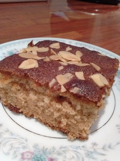 Slice of honey cake showing moist interior
