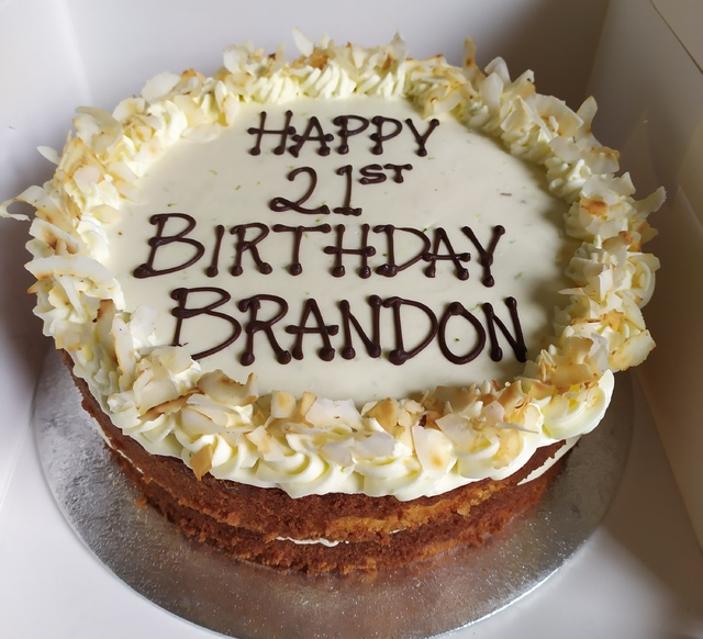 Lime and coconut cake with writing