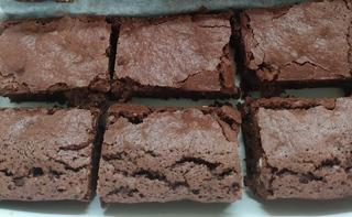 Top view of pieces of vegan chocolate fudge brownie
