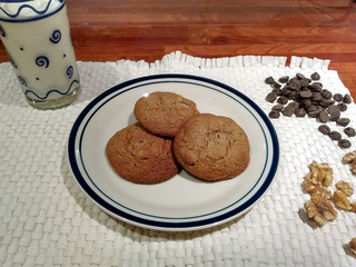 Choc chip and walnut cookies on plate