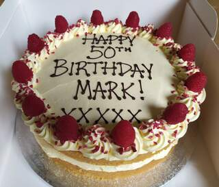 2-layer 10inch Victoria sponge, message piped on top