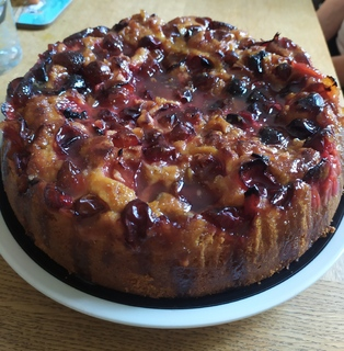 Plum and ginger cake with glossy ginger syrup