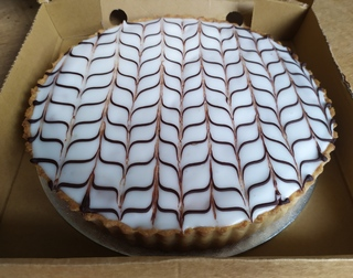 Bakewell tart with feathering on top