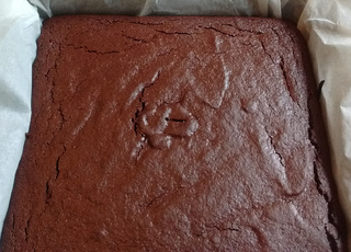 Whole tray of beetroot brownie, uncut