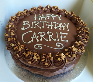 Vegan chocolate cake with writing 9in