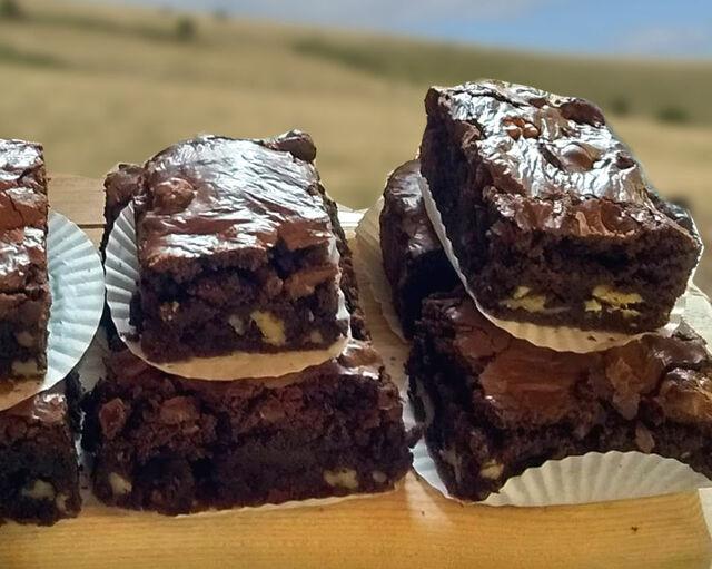 Slices of chocolate fudge brownie with walnuts